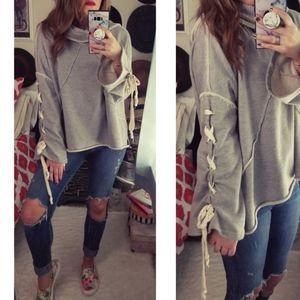 VICI Lace-Up Sleeve Hooded Sweatshirt
